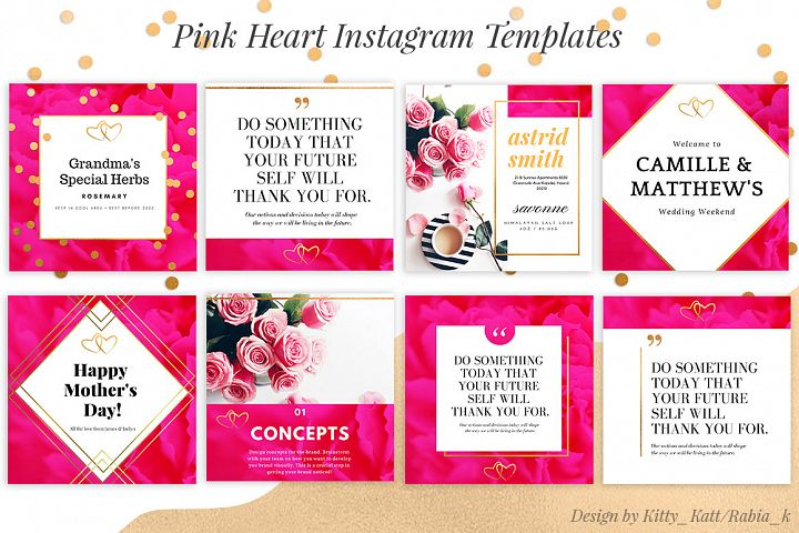 Pink Heart Ready made Instagram Canva Template