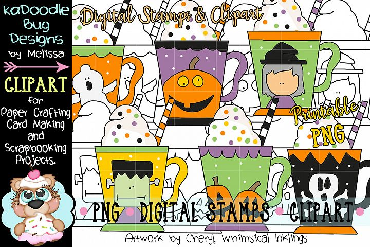Halloween Coffee Mug Digital Stamp and Clipart Illustrations