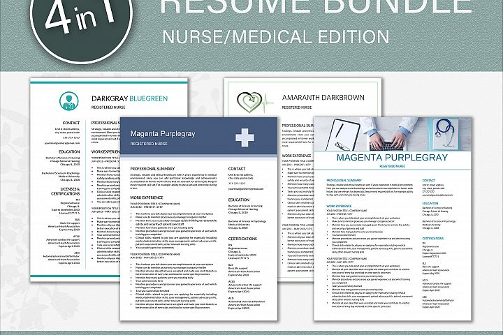 Medical Resume Template Bundle 4 in 1
