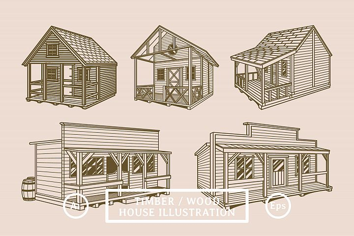Timber Wood House Illustration