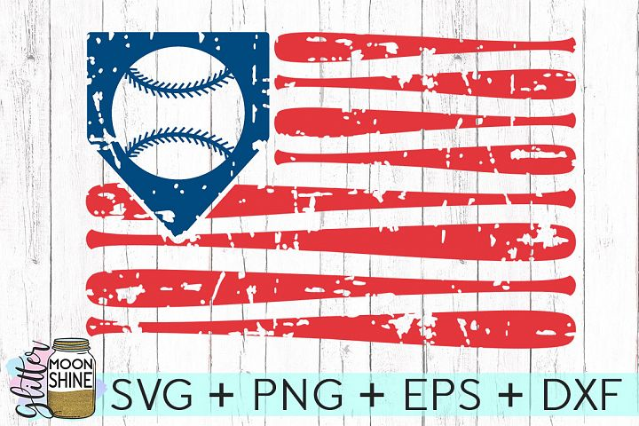 Distressed Baseball American Flag SVG DXF PNG EPS Cutting Files