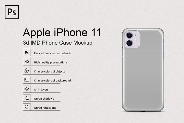 Apple iPhone 11 3d IMD Phone Case Mockup Back View
