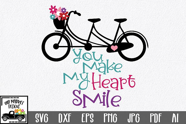 You Make My Heart Smile SVG Cut File - Valentine SVG EPS DXF