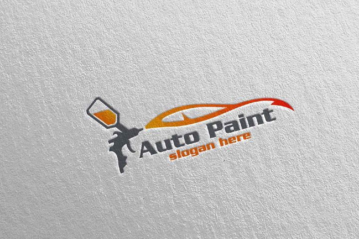 Car Painting Logo with Spray Gun and Sport Car Concept 5