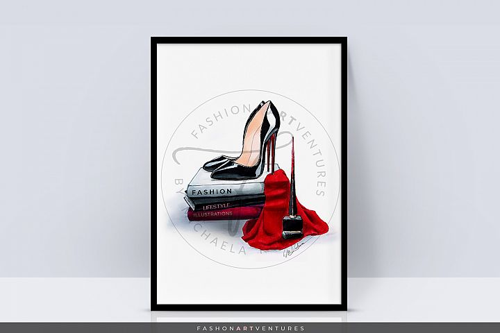 Black Heels - Shoe Illustration, Fashion print, Home decor