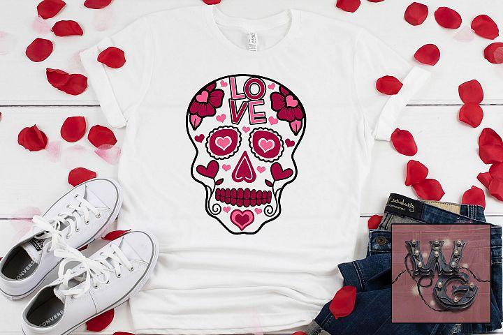 Valentine Sugar Skull SVG DFX PNG EPS Commercial