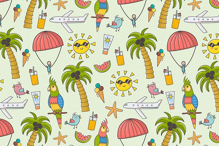 Summer Time: pattern & clipart - Free Design of The Week Design 1