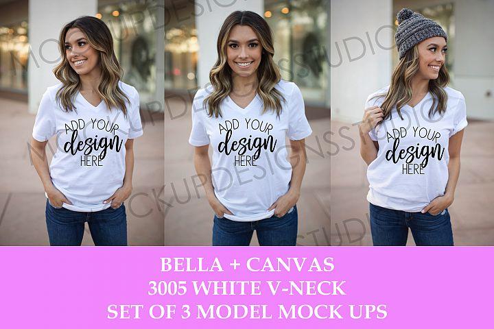 BELLA CANVAS 3005 WHITE VNECK SHIRT MODEL MOCKUP - SET OF 3