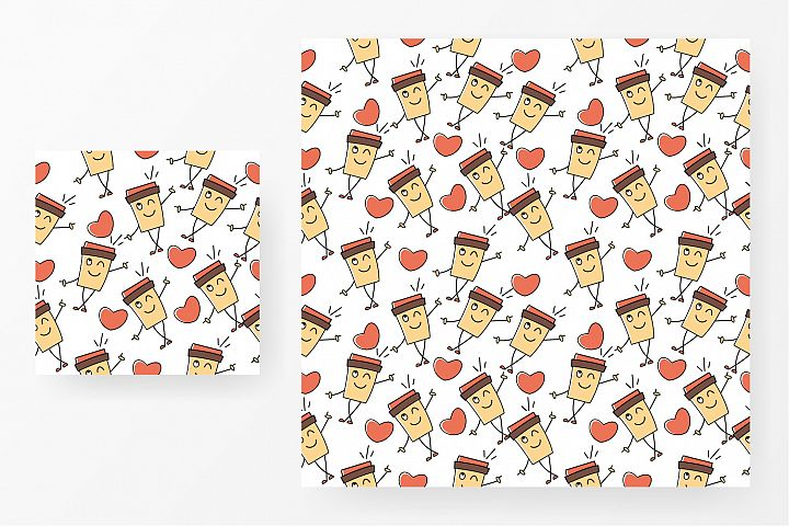 Seamless pattern coffee and love