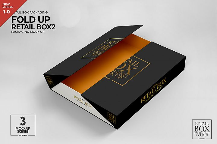 Fold Up Retail Thin Box Packaging Mockup