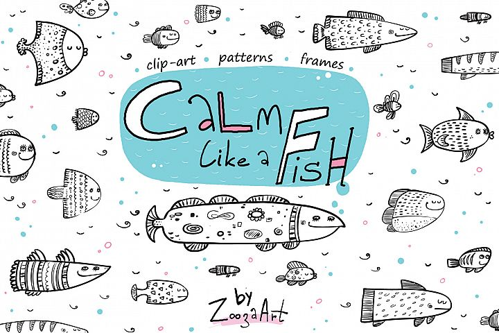 Calm like a Fish - clip-art, patterns