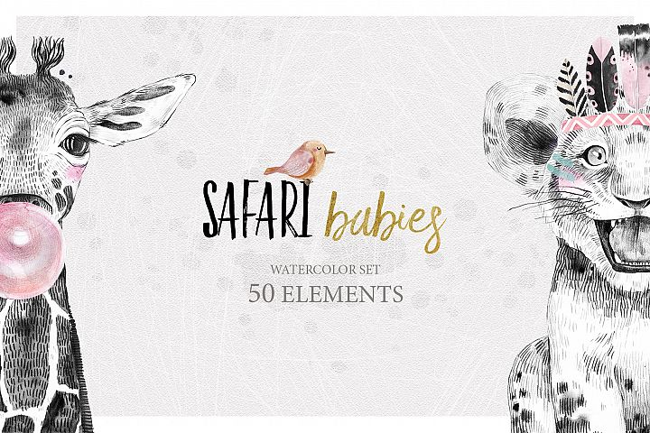SAFARI BABIES watercolor set