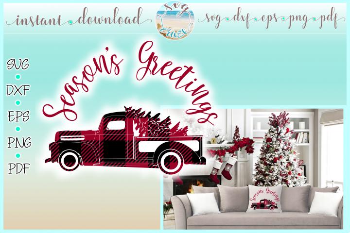 Seasons Greetings Buffalo Plaid Truck Svg Dxf Eps Png PDF