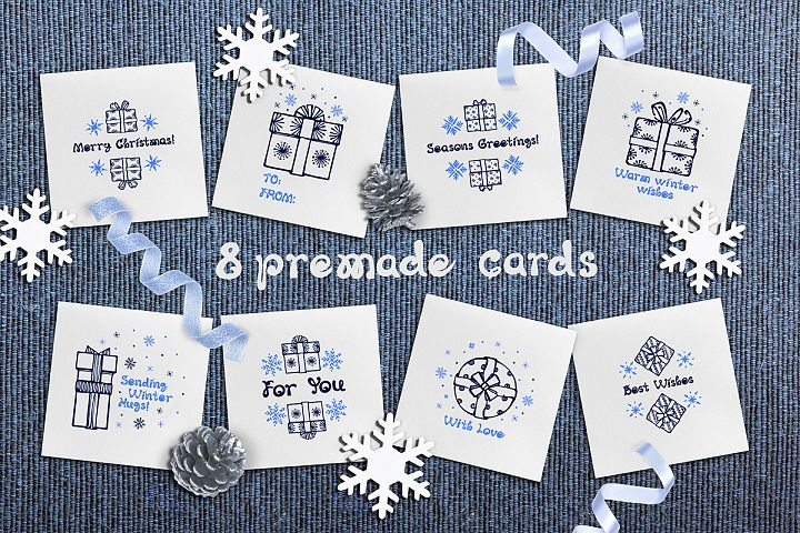 8 hand drawn greeting cards with Christmas gift boxes