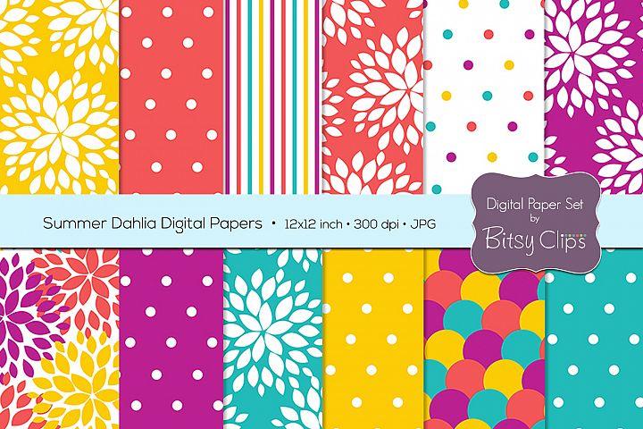 Summer Dahlia Digital Paper Set Scrapbook Paper Floral Scrapbook Paper
