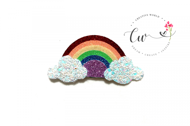 Rainbow Hair Clip Digital Template | Rainbow Clip Template