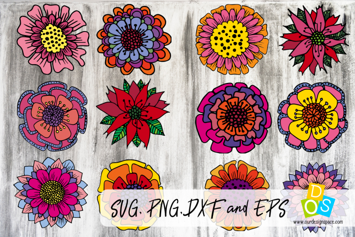 12 Doodle Christmas Flowers SVG, PNG, DXF and EPS files
