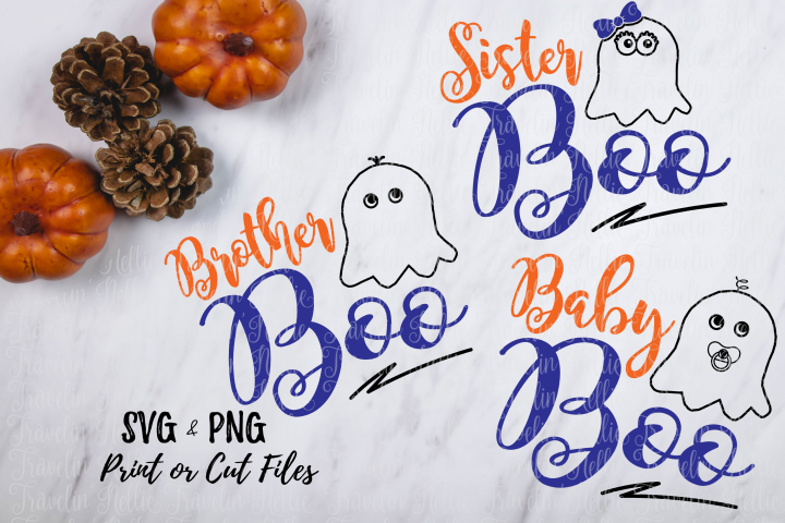 Baby Boo Sister Boo Brother Boo SVG Halloween Bundle Ghost