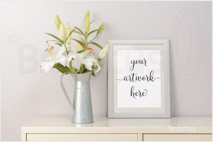 Frame mockup - clean bright interior lily flowers