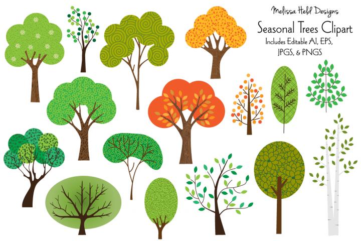 Seasonal Trees Clipart