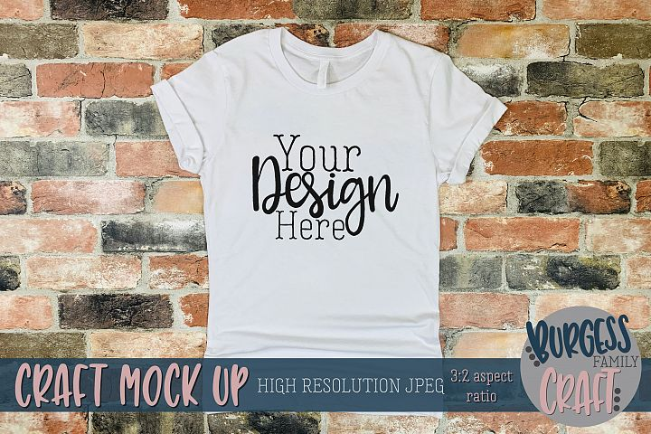 Basic white canvas shirt Craft mock up |High Res JPEG