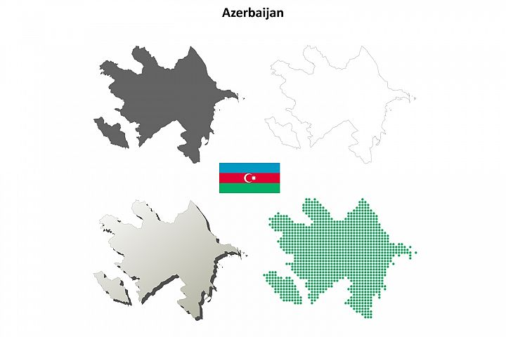 Azerbaijan outline map set