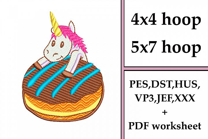 Unicorn Cute Donut - Machine embroidery design