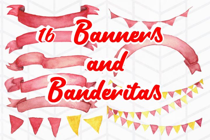 16 Watercolor Banners and Banderitas