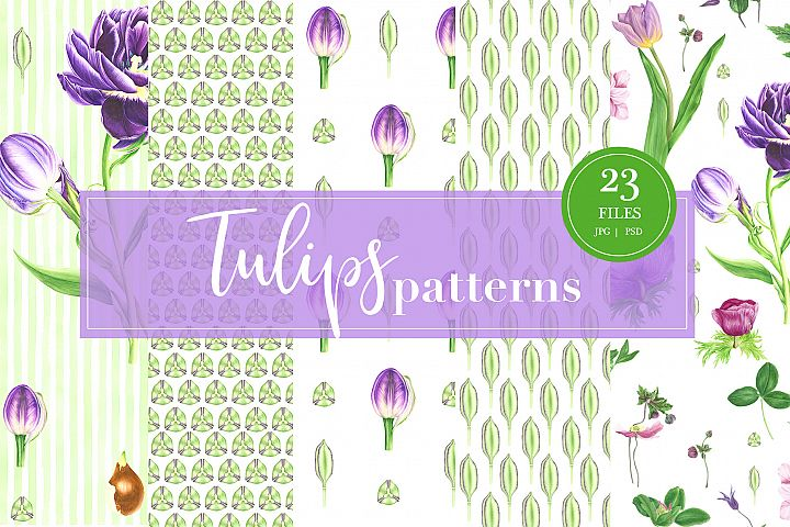 Watercolor Tulips patterns