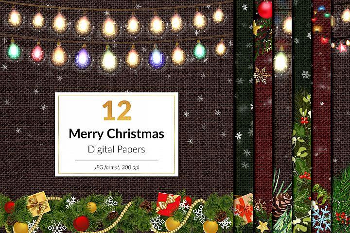 Christmas Digital Paper, Xmas Frames, Hanging Lights