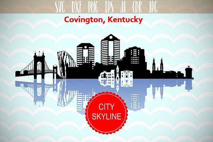 Covington City in Kentucky Vector Skyline