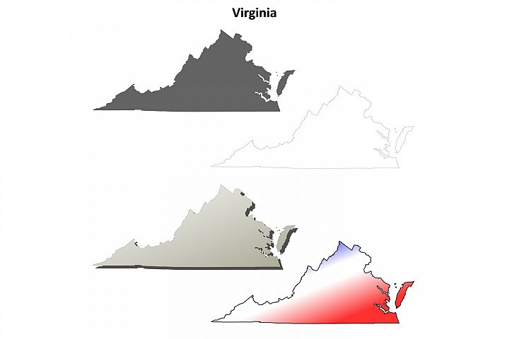 Virginia outline map set