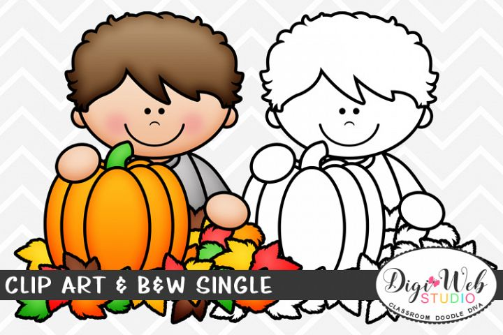 Clip Art & B&W Single - Boy w/ A Pumpkin & Fall Leaves
