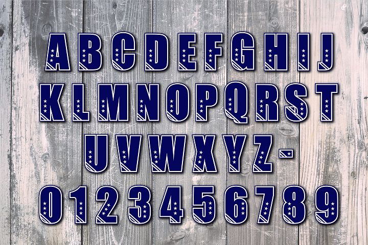 Stars and Strips Font, Alphabet, PRINT, CUT & DESIGN