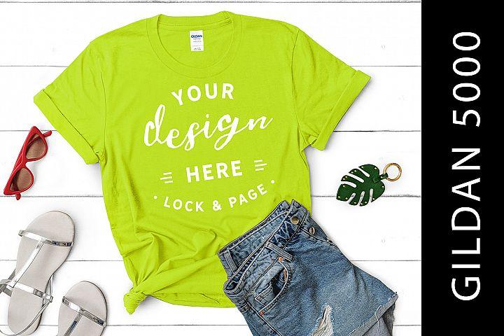 Safety Green Gildan 5000 Womens Knotted T-Shirt Mockup