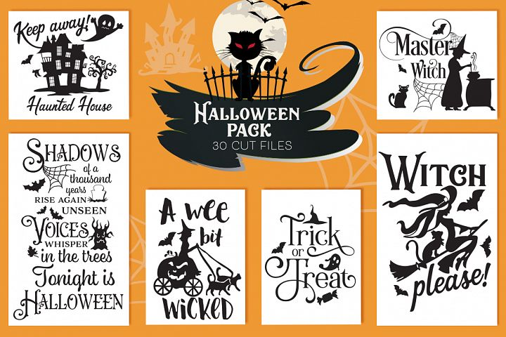 The Halloween SVG Cut Files Pack with 30 Items