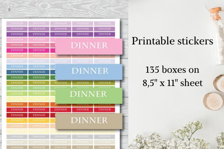 Dinner tracker, Dinner stickers, Dinner planner stickers