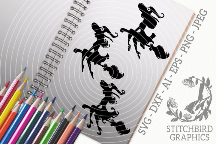 Witch Silhouettes Bundle SVG, Silhouette Studio, Cricut, Eps