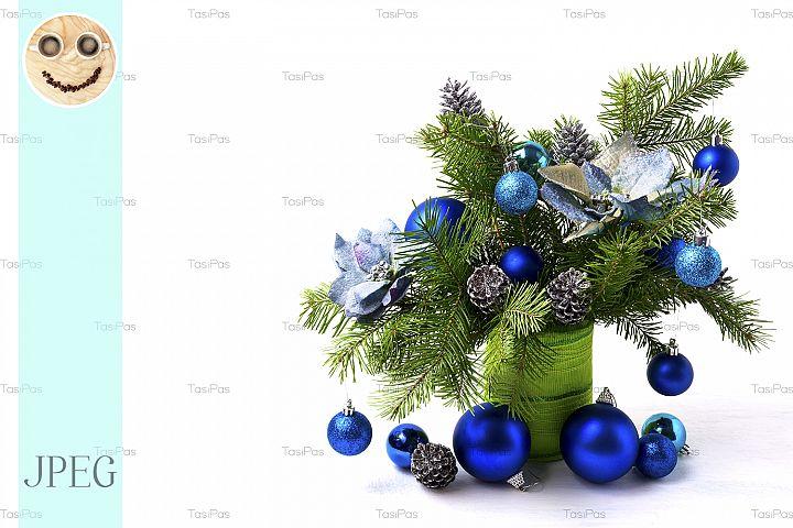 Christmas arrangement silk poinsettias, blue baubles