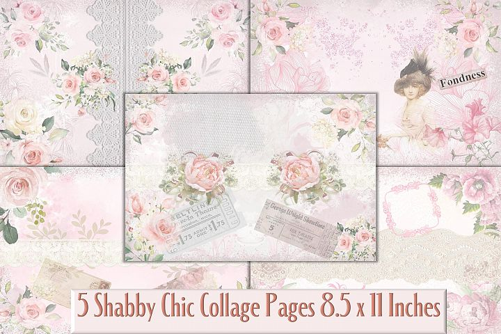 Shabby Chic Collage Pages Backgrounds JPEG and PDF