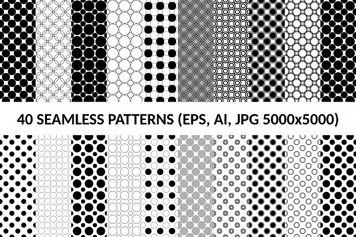 40 Seamless Circle Patterns (AI, EPS, JPG 5000x5000)