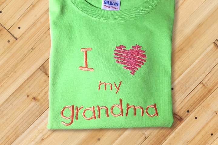 I Heart My Grandma Embroidery Design