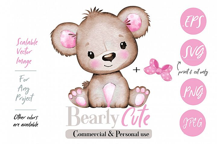 Girl Teddy Bear clip art, brown pink cute baby girl bear