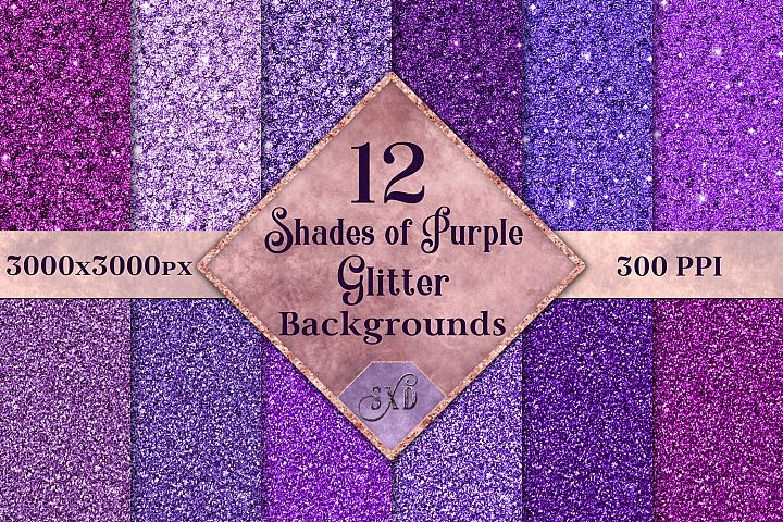Shades of Purple Glitter - 12 Background Image Textures