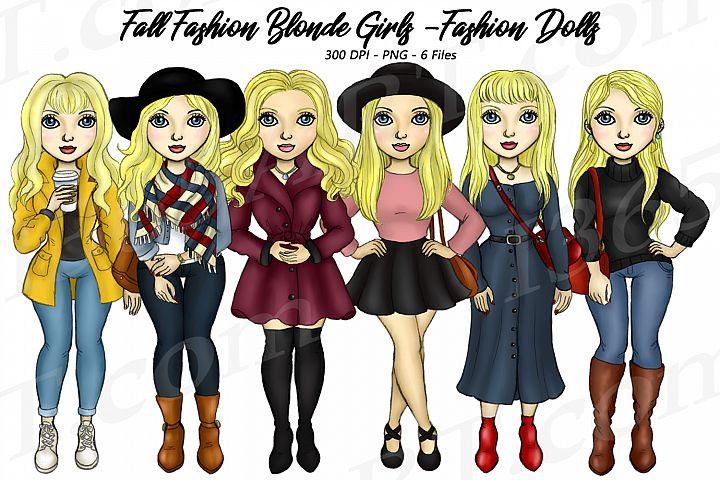 Fall Fashion Autumn Girls Blonde Planner Clipart Set