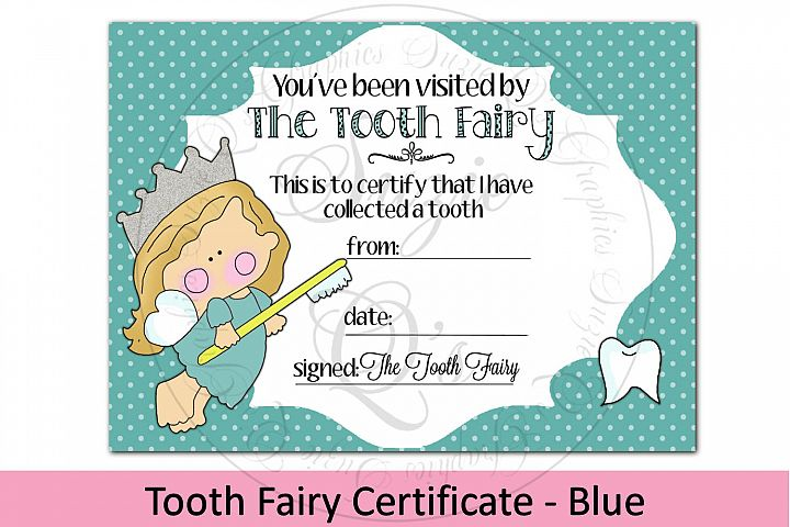 Tooth Fairy Certificate - Blue, 5 x 7 inches