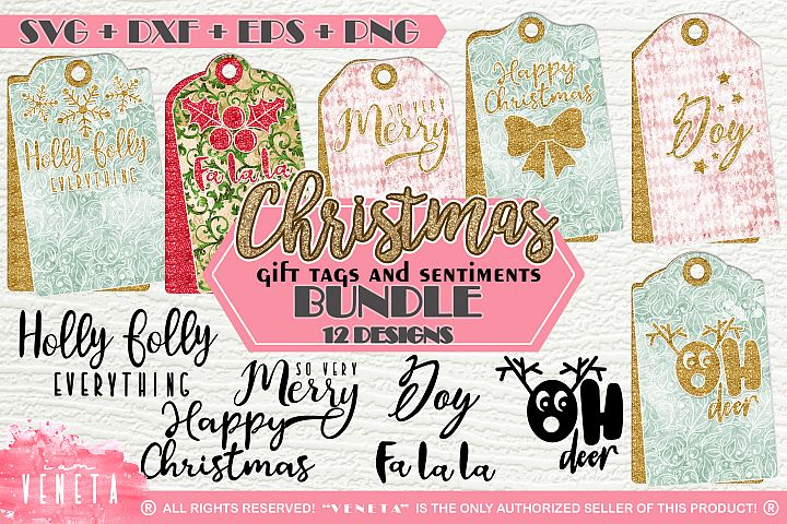 Christmas | Gift tags and sentiments | BUNDLE - 12 Designs