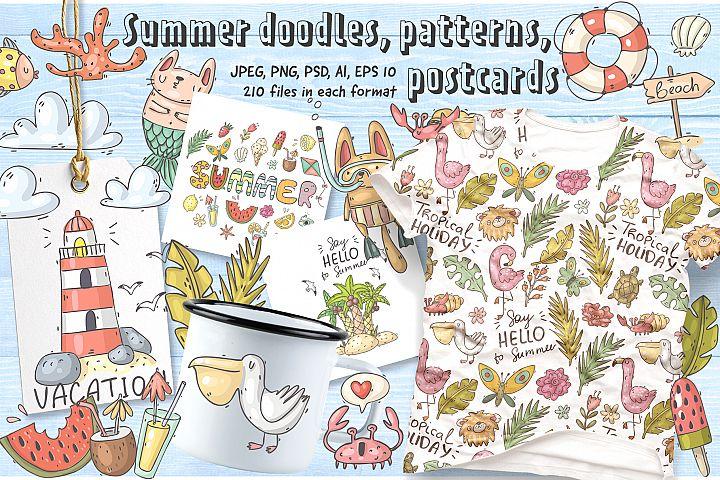 Big set of summer doodles