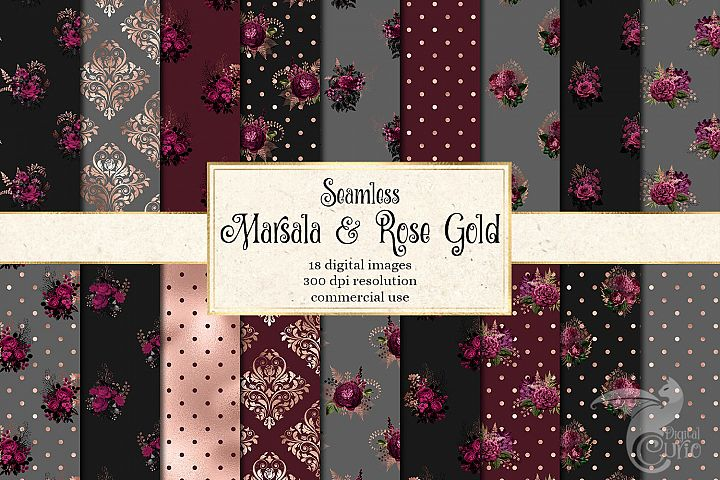 Marsala and Rose Gold Digital Paper