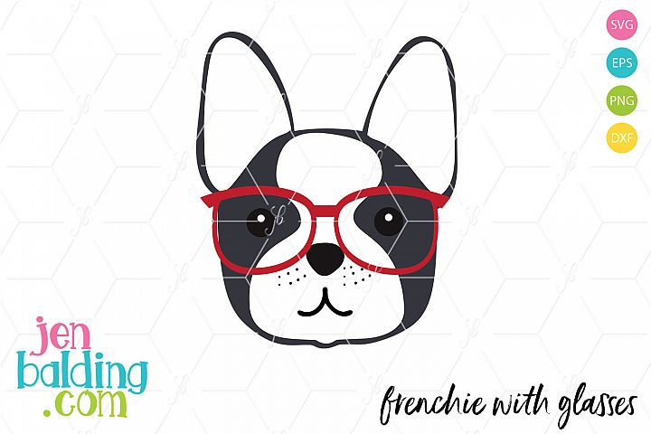 Frenchie With Glasses SVG